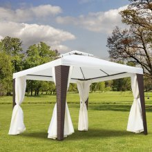 Outsunny 3 X 3m Garden  Rattan Metal Gazebo in Beige