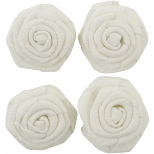 Lucky Dip Self - Adhesive Burlap Flowers - White 1.5 in.