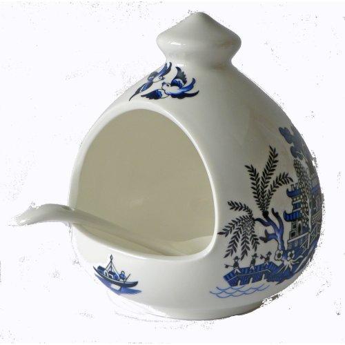Blue willow salt pig. Large porcelain pig with ceramic spoon