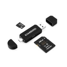 KiwiBird® Micro USB OTG to USB 2.0 Adapter; SD/Micro SD Card Reader
