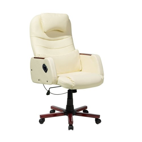 Executive Chair Faux Leather Beige CAPTAIN