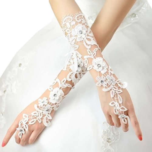 Bridal Wedding Gloves Party Dress Lace Long Gloves A17