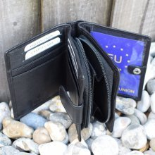 Mens Womens REAL GENUINE Leather Bifold Purse Photo Windows