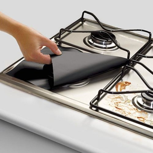 4PCS Kitchen Reusable Aluminum Foil Gas Stove Burner Cover Protector Liner Clean Mat Pad