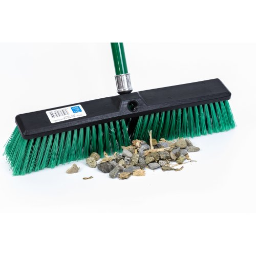 Stiff Outdoor Yard Sweeping Brush Heavy Duty Garden Broom Sweeper with Hard  Firm Bristles and Strong Metal Handle 18