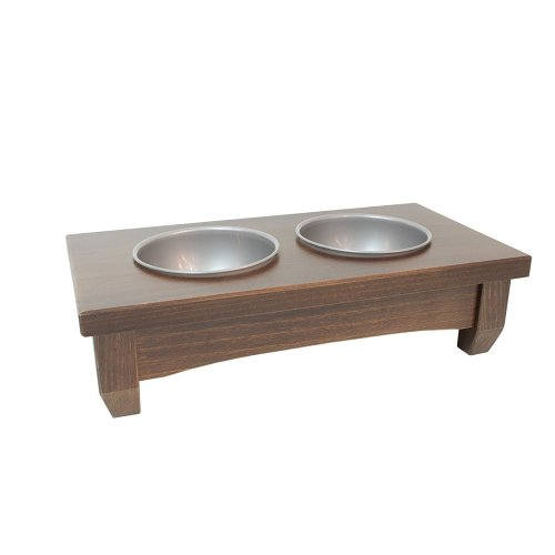 "Obique Wooden Raised Double Bowl Feeding Station Small 4"" (10 cm High)"