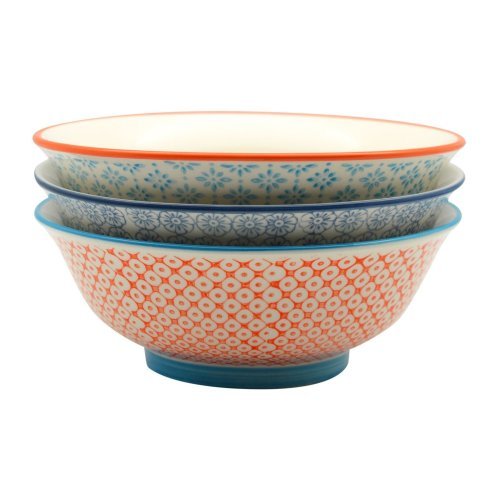 Nicola Spring Patterned Salad/Fruit / Serving Bowls - 203mm (8 Inches) - Pack of 3 Designs