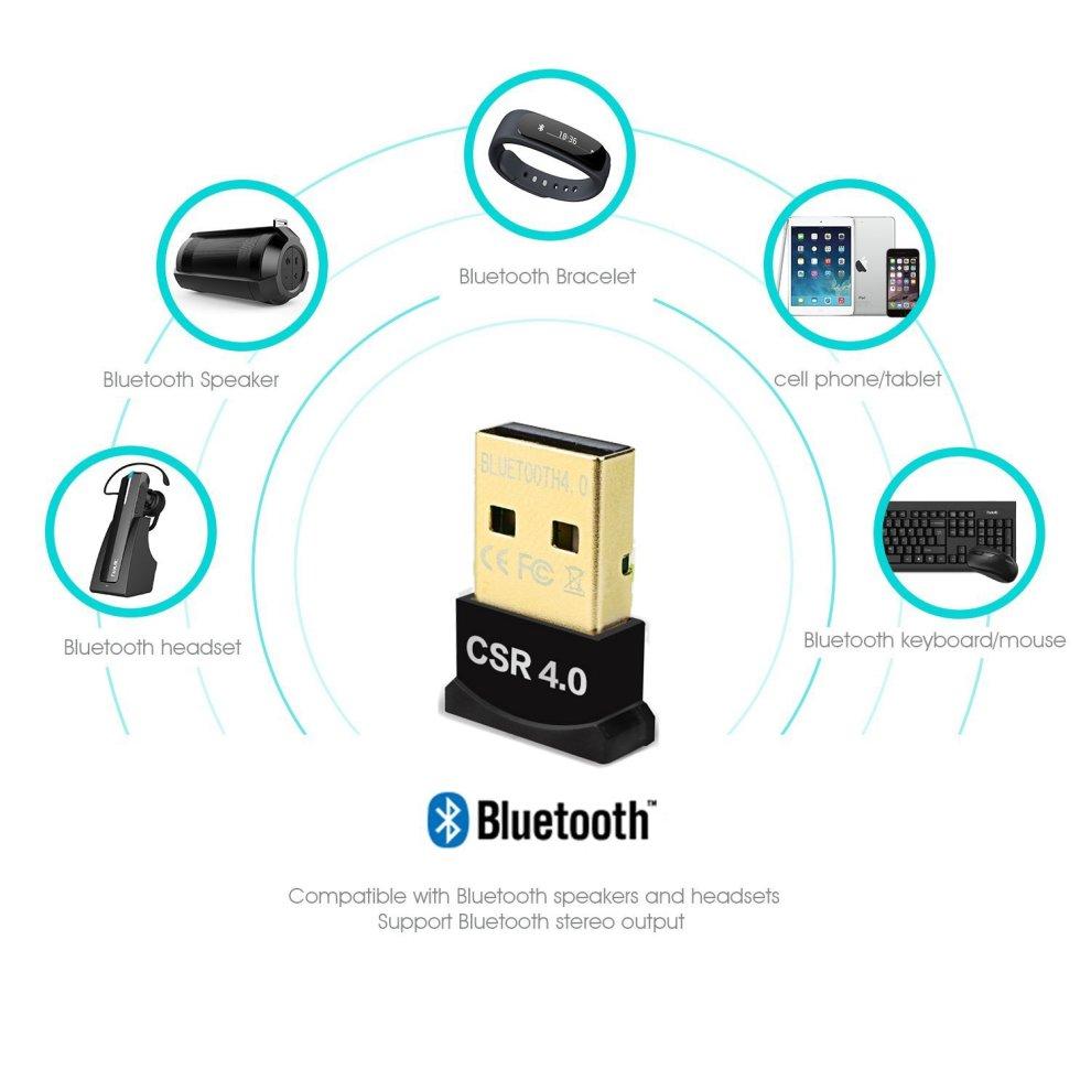 Hemara Universal Slim Bluetooth Adapter Dongle Mini BT 4 0 USB 2 0 Wireless  Converter for PC Plug Play with Windows 10 / 8 1 / 8 / 7 / XP,Vista