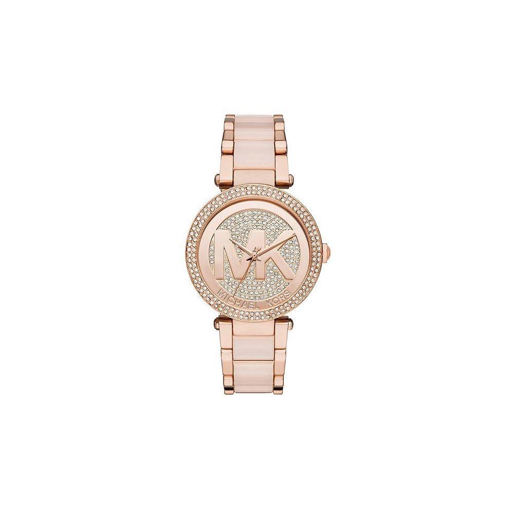 Michael Kors Parker Ladies  Watch Rose Gold PVD Bracelet Crystal Paved Dial MK6176