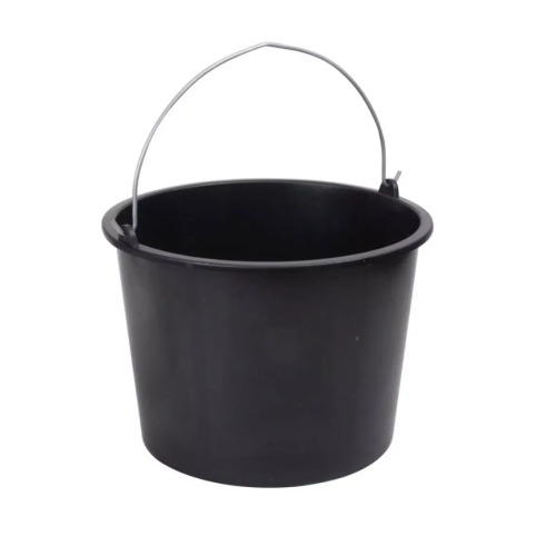 20L Plastic Bucket With Handle - Black | Round Cleaning Bucket