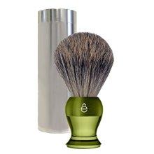 eShave Fine Badger Hair Travel Shaving Brush, Green