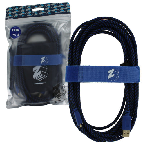 ZedLabz Ultra 5m gold plated braided charging cable for Sony PS4 controller inc cable tidy & bag - 2 pack