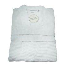 White Waffle 100% Cotton Kimono Style Large Size Bath Robe