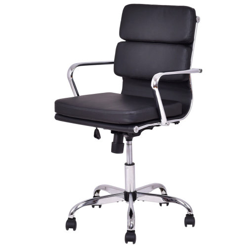PU Leather Office Chair Adjustable Black