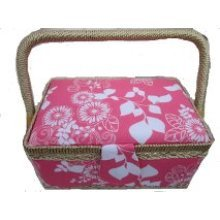Rectangular Pink and White Fabric Sewing Box 22x14x12cm
