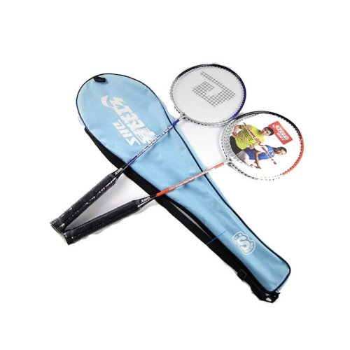 Couple Badminton Racquets Restrung Steel Rackets with Blue Case