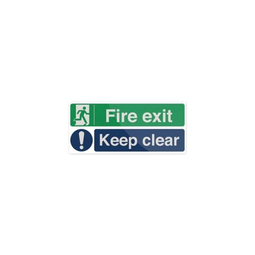 Fire Exit Keep Clear Sign - 450 x 200mm Rigid
