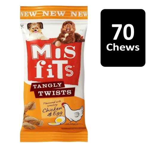 MISFITS Tangly Twists Dog Treats with Chicken and Egg 10x140g