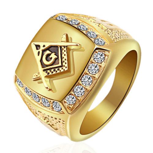 71d3bcab685a4 Fashion Gold Titanium Steel Finger Ring Rhinestone Free-Mason Logo Jewelry  Gift for Men