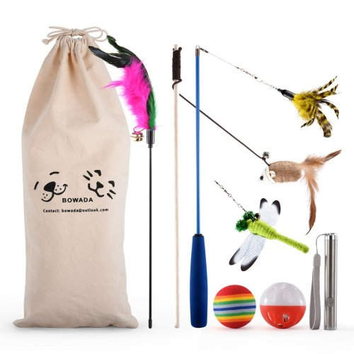 Bowada Cat Toys Pack with Ball,Feather Toys,Interactive Toys,LED Light Toys,Mice & Animal Toys