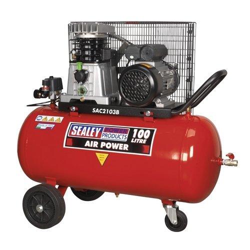 Sealey SAC2103B 100ltr Belt Drive Compressor 3hp with Cast Cylinders & Wheels