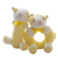 2PCS Baby Plush Soft Toy Baby Rattles Ring Rattle  Hand Grasp Rattle, Sheep