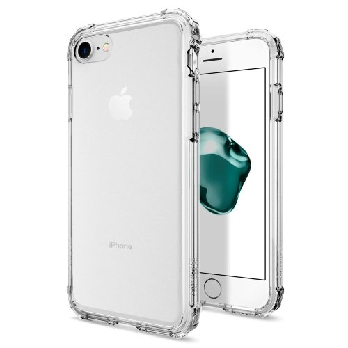 lowest price ab325 1deec Apple iPhone 8 / iPhone 7 Case, Spigen [Crystal Shell] Extra Shock Absorb  [Clear Crystal] Clear Back Panel Engineered TPU Bumper Phone Case Cover...