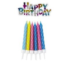 Birthday Candles with Holders - /12