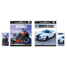 2018 Calendar & Diary Set Motorbikes Sports Cars Christmas Birthday Gift Square Home Office Super Performance Ultimate Racing