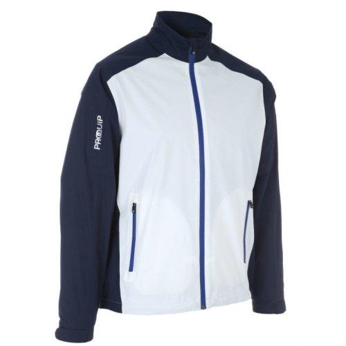 ProQuip Golf Mens Aquastorm PX1 Waterproof Rain Jacket Full Zip Navy/White Medium