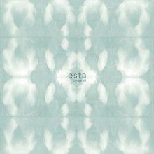 chalk printed eco texture non woven wallpaper Tie-dye shibori pattern Gray light pastel mint green