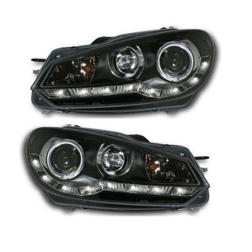 Volkswagen Golf Mk6  1/2009-> Black Drl Headlights Pair