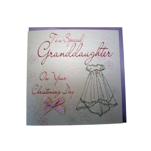 White Cotton Card Christening Granddaughter