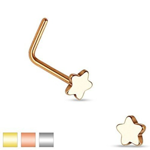 Smooth Star Top Nose Stud L Bend