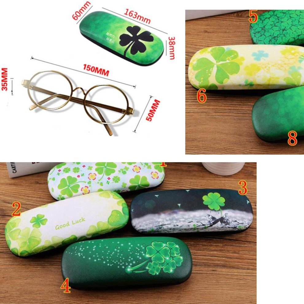 02 PU Leather Hard Shell Eyeglass Case Glasses Storage Case Protective Case for Glasses Four Leaf Clover