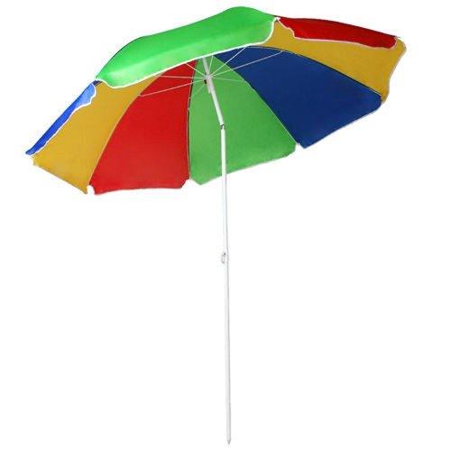 1.6M Tilting Rainbow UPF40 Beach Parasol | UV Protection Umbrella