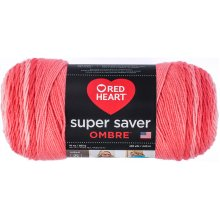 Red Heart Super Saver Ombre Yarn-Deep Sea Coral
