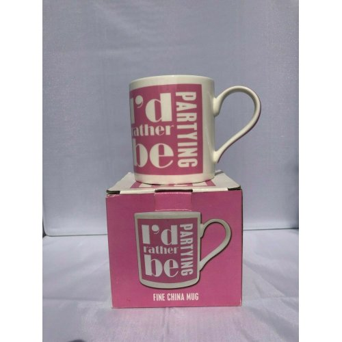 I'd Rather Be Partying - Pink & White Mug - In Gift Box - Ideal Gift
