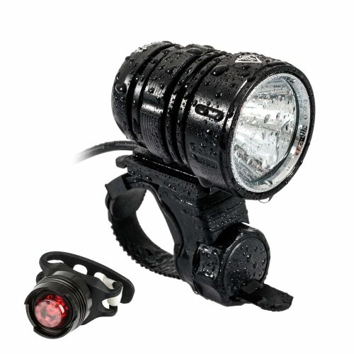 MOGZZi LED Bike Light Set, USB Rechargeable Bicycle Lights Bright Front 1200 Lumen LED Head Torch Headlamp Waterproof with Battery Pack and Free...