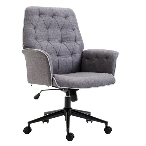 Homcom Grey Linen Office Chair | Grey Swivel Desk Chair