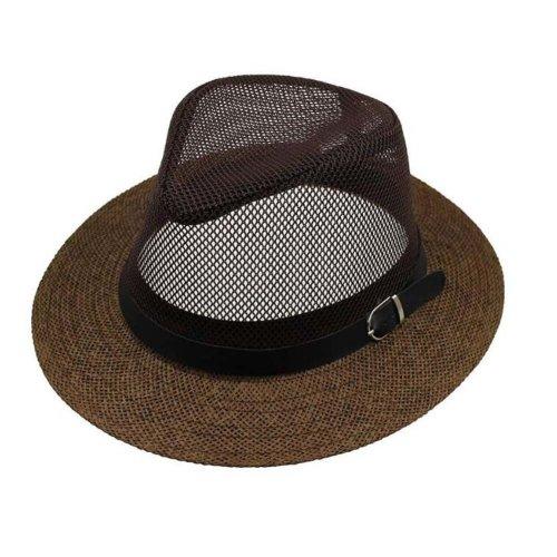 32a30458c Men's Hats Mesh Straw Jazz Cap Beach Hat Breathable Hat Casual Cap