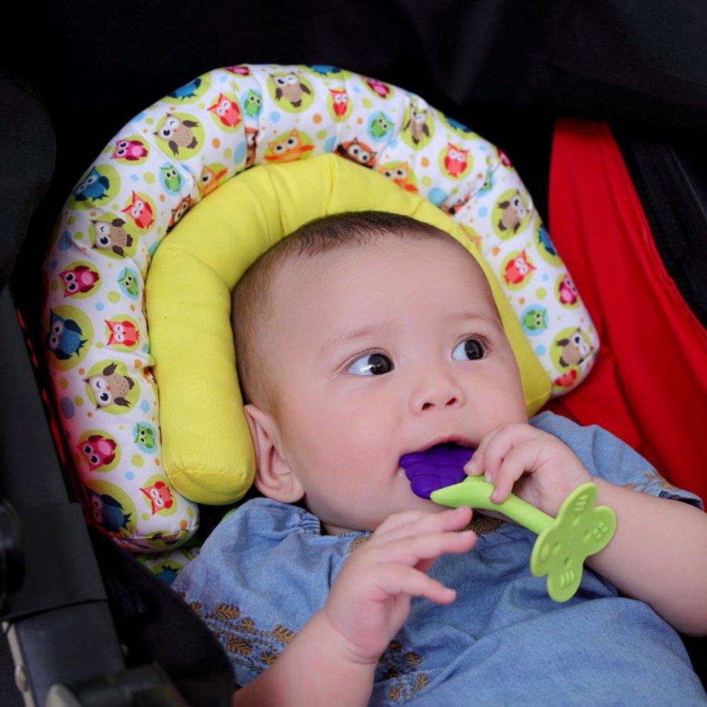 Baby Head Support Kakiblin Newborn Pushchair Car Seat Insert Soft Head Hugger Pillow Cushion For Stroller Yellow