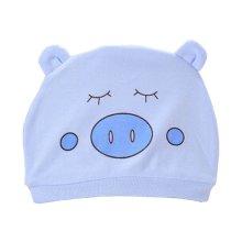 Set of 3 Cute Baby Hats Infant Caps Newborn Baby Cotton Hat Pig Blue