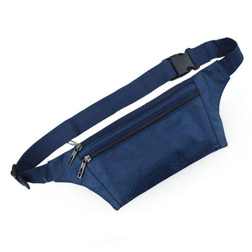 [NAVY] Outdoor Portability Three Zippers Water-proof Runner's Waist Pack