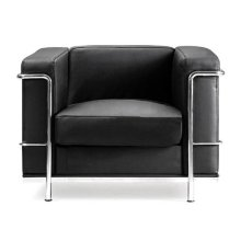 Eliza Tinsley Belmont Reception Chair | Black Cubed Leather Seat