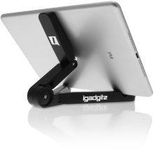 iGadgitz Multi-Angle Black Adjustable Portable Tablet Folding Plastic Stand