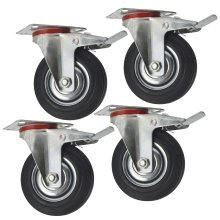 """5"""" (125mm) Rubber Swivel With Brake Castor Wheels Trolley Caster (4 Pack) CST08"""
