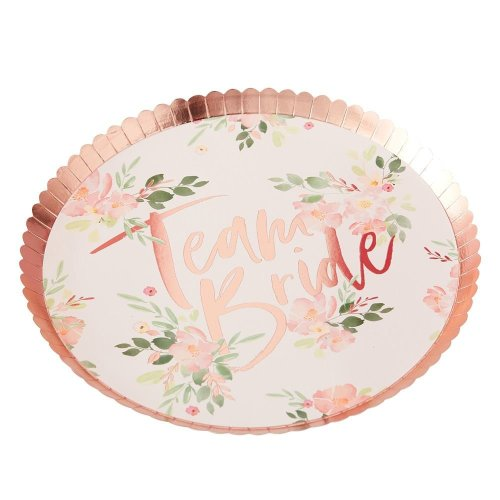 TEAM BRIDE FLORAL PAPER PLATES - FLORAL HEN PARTY