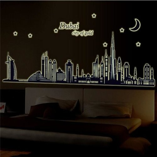 Fluorescent Glow Dubai City Building Luminous Wall Sticker