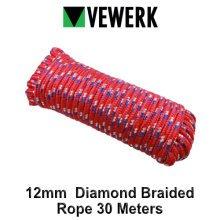 VEWERK 12mm Polypropylene Diamond Braided Rope 30 Meters 9021